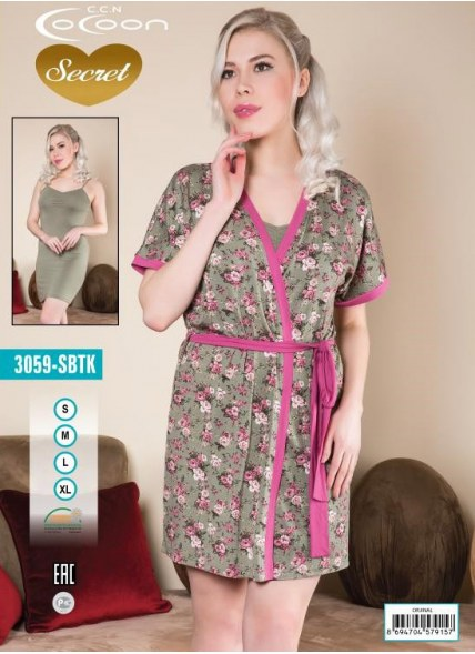 Халат + Ночная Рубашка Комплект 2-ка (M+L+XL+XXL) COCOON Secret